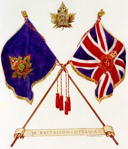 Regimental and King's Colours of the 38th Canadian Infantry Battalion.