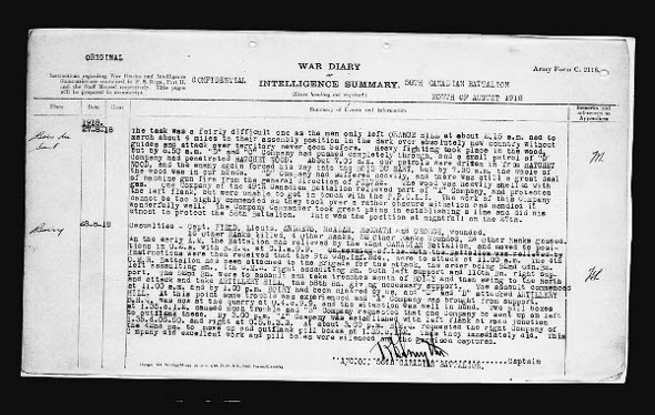58th Cdn Inf Bn War Diary