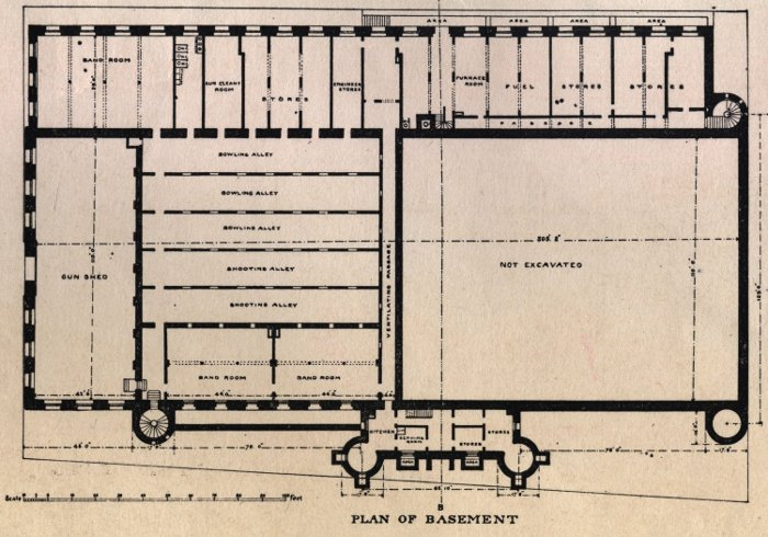 Halifax Armouries, floor plan, basement level