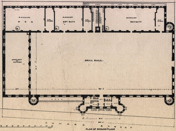 Halifax Armouries, floor plan, balcony level