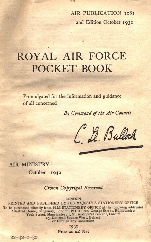 RAF Pocket Book coloured image plate
