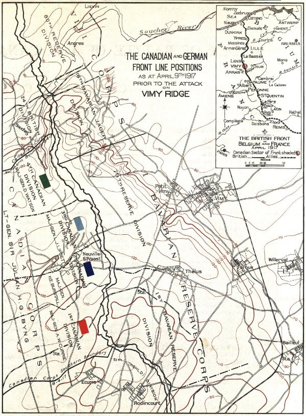 The Canadian and German Front Line Positions at at April 9th, 1917, Prior to the Attack on Vimy Ridge