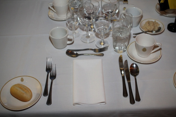 A Typical Table Setting For Four Course Meal Soup Salad Entree